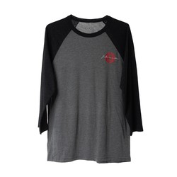 3/4-Sleeve Baseball Tee Grey/Charcoal Black XS